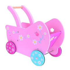 Wooden pink dolls pram Bigjigs