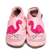 Inch Blue Flamingo Leather Baby Shoes - Kiddymania Rag Dolls