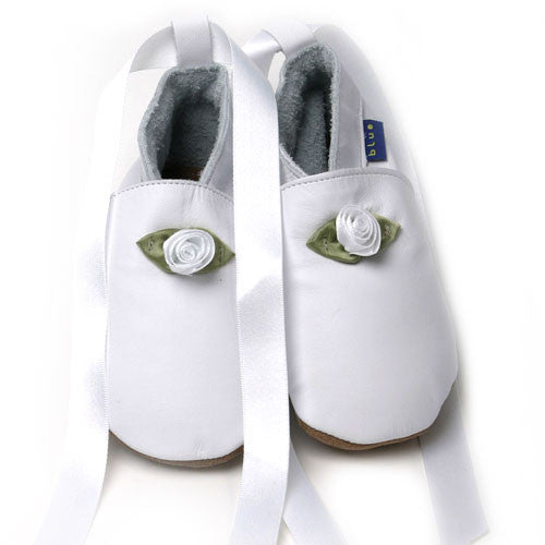 Inch Blue Baby shoes - White Ballet shoes