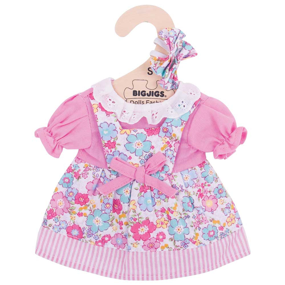 Pink Floral Rag Doll Dress 25 cm