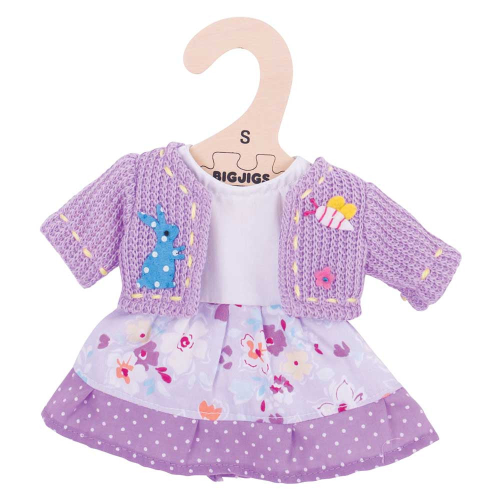 Lilac Rag Doll Dress  and cardigan 34 cm