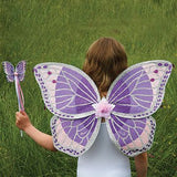 Purple Glitter Wing & Wand Fancy Dress Set