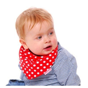 Beauty and the Bib Bandana Bib - Red White Spot - Kiddymania Rag Dolls
