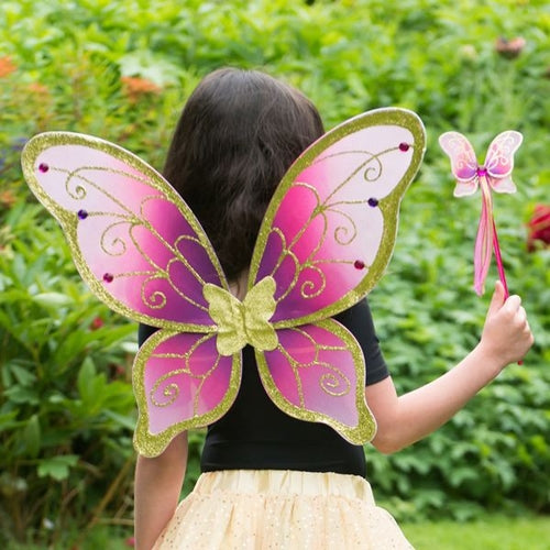 Cerise/Gold Fairy Wings