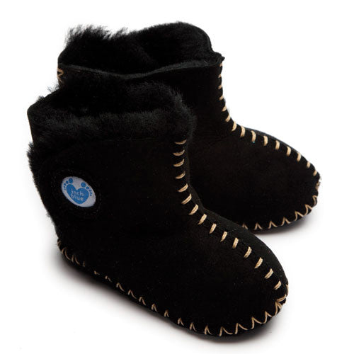 Cwtch Sheepskin Bootees Black - Kiddymania