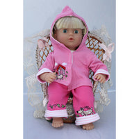 "Dolly Designs 2 piece doggy trouser set with hood 16-18"" - Kiddymania Rag Dolls"