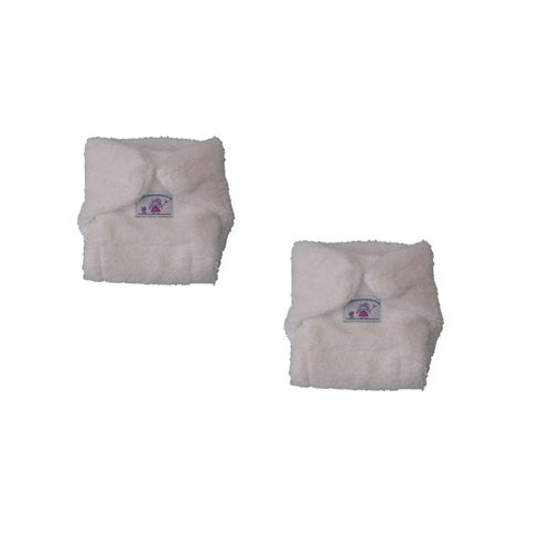Pack of 2 White terry doll's nappies - Kiddymania Rag Dolls