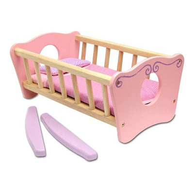 Wooden Dolls Rocking Bed - Kiddymania Rag Dolls