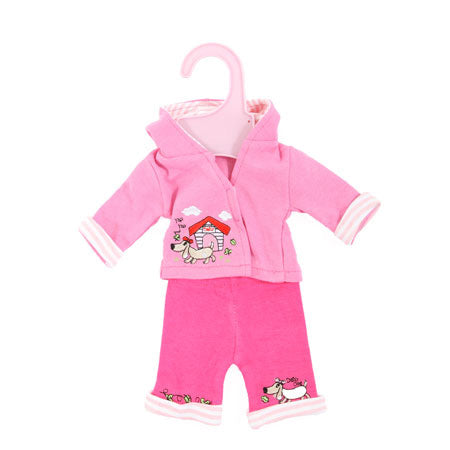 "Dolly Designs 2 piece doggy trouser set with hood 12-14"" - Kiddymania Rag Dolls"