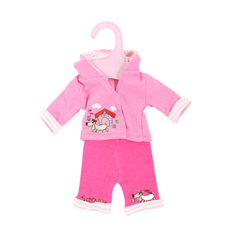 "Dolly Designs 2 piece doggy trouser set with hood 14-16"" - Kiddymania Rag Dolls"