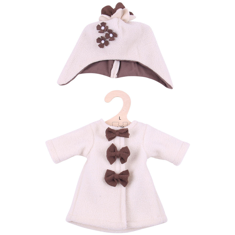 Beige Fleece Coat and Hat 38cm