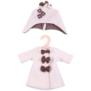 Beige Fleece Coat and Hat - for 38cm doll - Kiddymania Rag Dolls