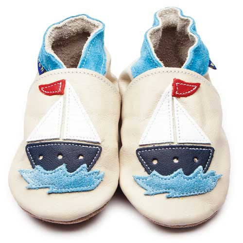 Inch Blue Baby shoes - Sail Boat Cream