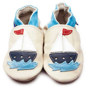 Inch Blue Baby shoes - Sail Boat Cream - Kiddymania Rag Dolls