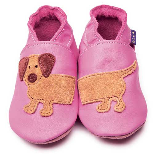 Inch Blue Baby shoes - Dashund Rose Pink - Kiddymania Rag Dolls
