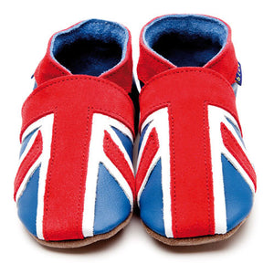 Inch Blue Baby shoes - Union Jack Blue Coral - Kiddymania Rag Dolls