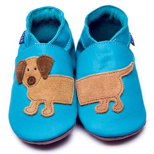 Inch Blue Baby shoes - Dashund Turquoise - Kiddymania Rag Dolls