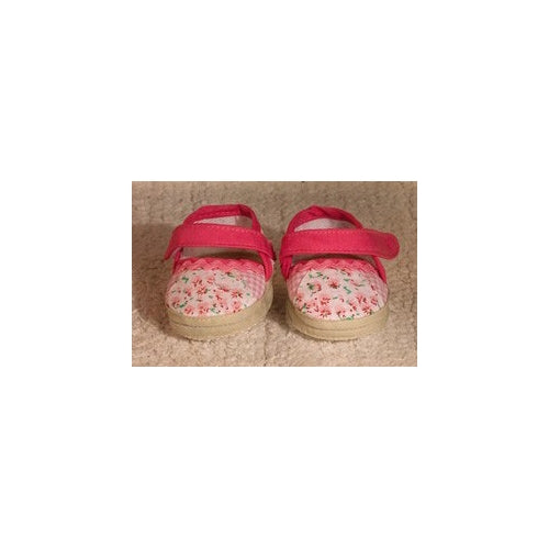 Petite Dolls Clothes Soft Shoes Pink floral