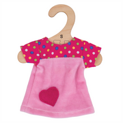 Pink Dress with Spots - for 28cm Doll - Kiddymania Rag Dolls