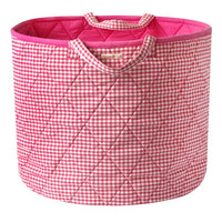 Pink Gingham Toy Storage Basket - Kiddymania Rag Dolls