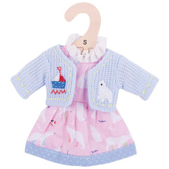 Polar Bear Pink Rag Doll Dress 28 cm