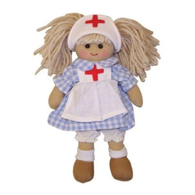Powell Craft Handmade Mini Nurse Rag doll 20cm - Kiddymania Rag Dolls