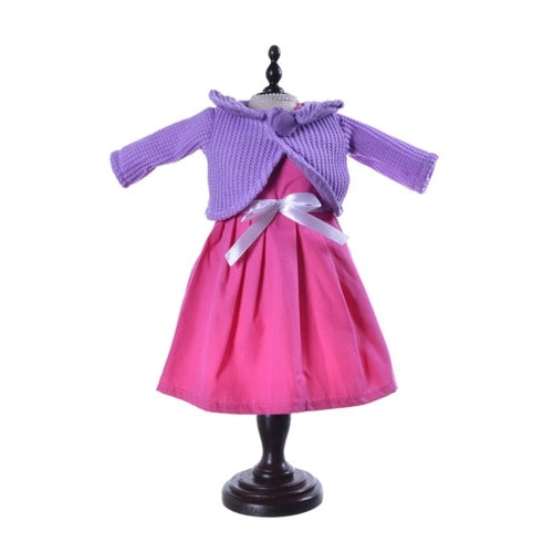 Dolly Doo Rag Doll Clothes - Pink dress & Purple Cardigan