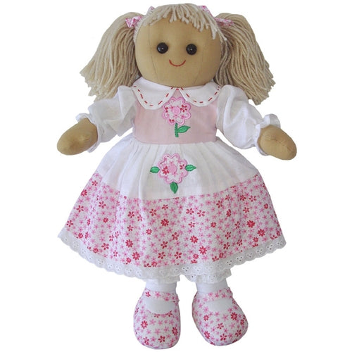 Powell Craft Handmade Rag Doll Pink Floral 40 cm - Kiddymania