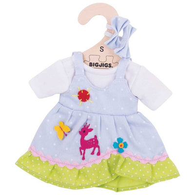 Blue Spotted Dress with Deer  - for 38cm doll - Kiddymania Rag Dolls