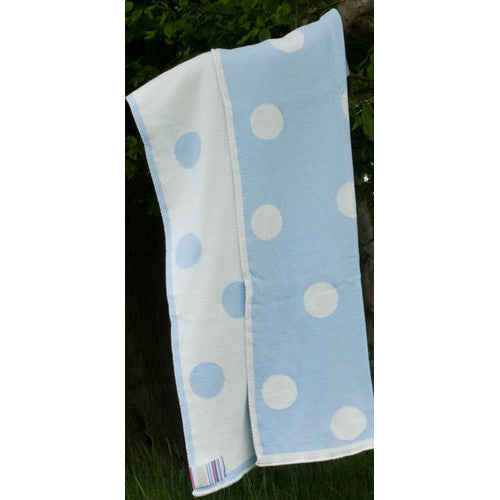 The Stripy Company Baby Blanket - Polka Dot Blue