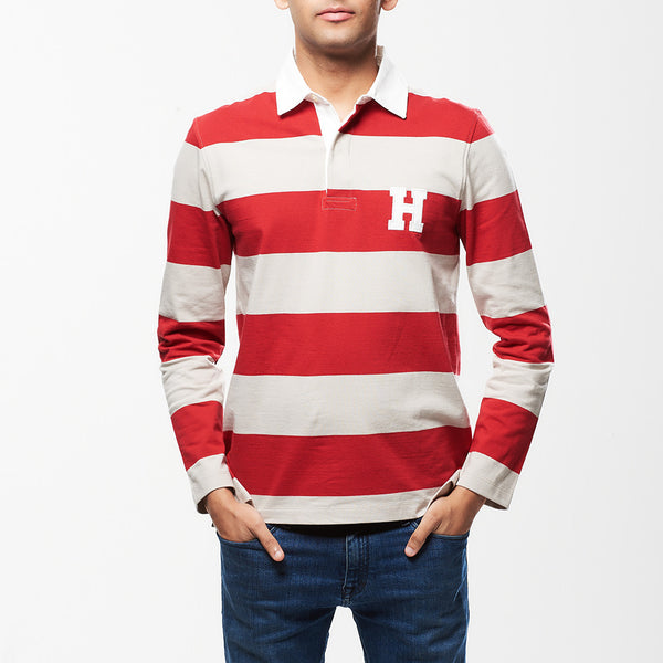 Hult Stripe Rugby Shirt Red/Stone