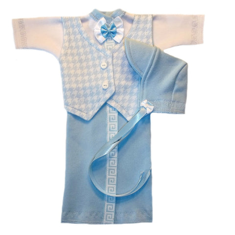 Preemie Baby Boy Burial Gown Blue Houndstooth Vest