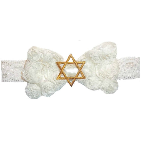 Baby Girls Ivory Star of David Jewish Headband
