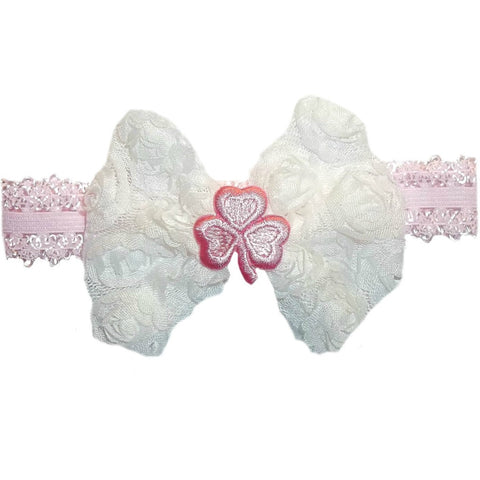 Baby Girls' Pink Shamrock Shabby Rose Headband
