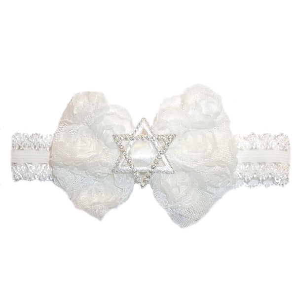 Baby Girls White Star of David Jewish Headband