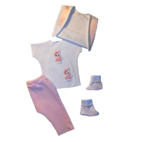 Newborn and Preemie Baby Girls' Easter Bunny Clothing Set.