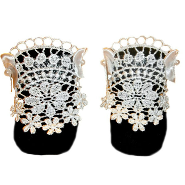 Black Preemie and Newborn Stunning Lace Baby Girl Crib Shoes