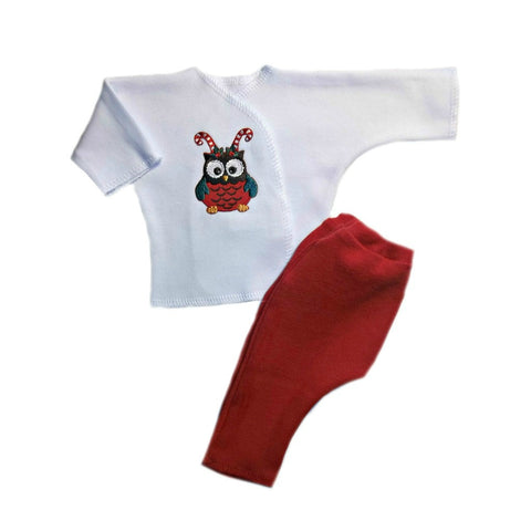 Unisex Baby Christmas Owl 2 Piece Clothing Set for Preemie and Newborn