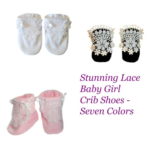 Preemie and Newborn Stunning Lace Baby Girl Crib Shoes - 7 Colors