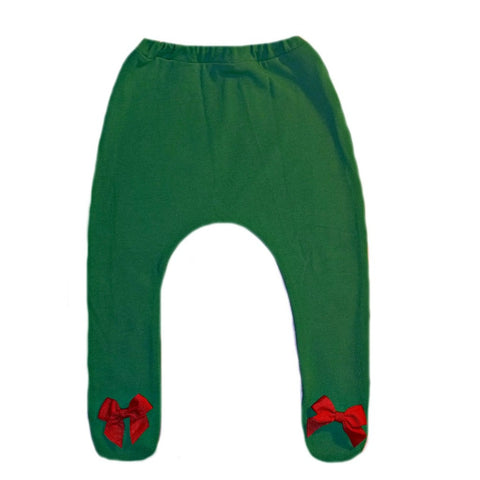 Kelly Green Baby Girl Christmas Tights with Red Ribbon Bows