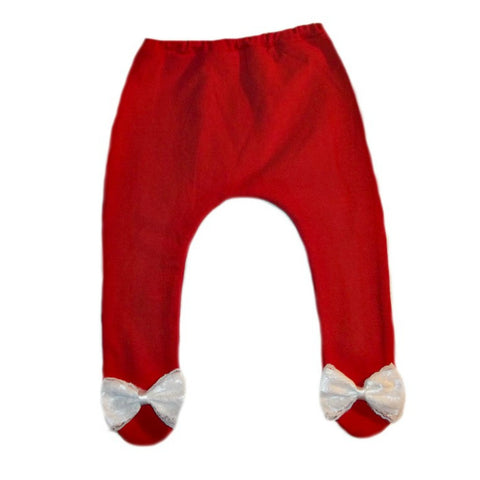 Baby Girl Red Christmas Tights with Beautiful White Lace Bow