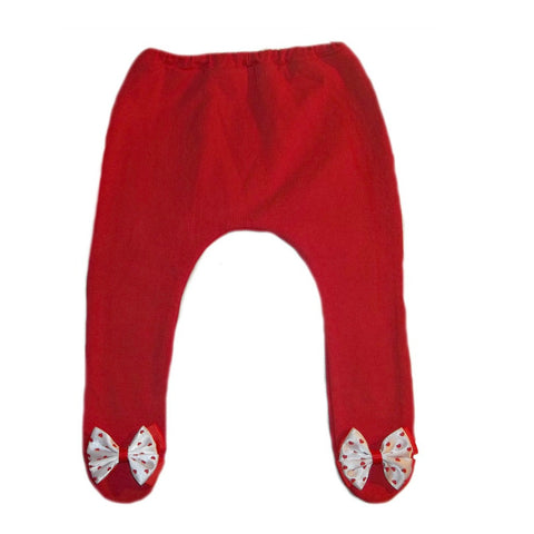 Baby Girl Red Holiday Tights with Bow with Hearts