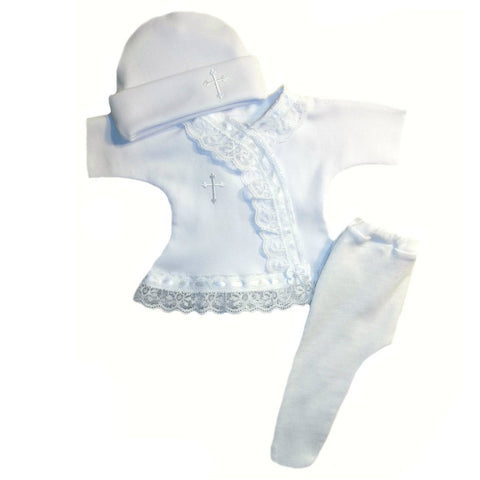 Preemie Newborn White Christening Baby Dress Hat and Tights