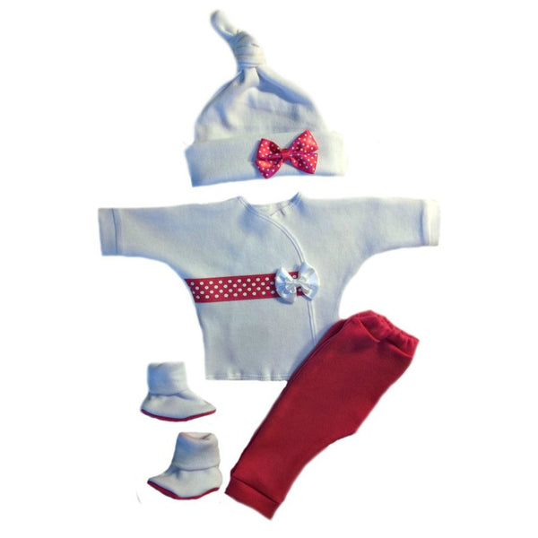 Baby Girls' Pink Dots and Bows Clothing Set Sized For Preemie and Newborn Babies