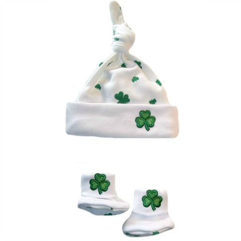 Unisex Babys' Shamrock Irish Hat Booties For Preemie and Newborn Babies