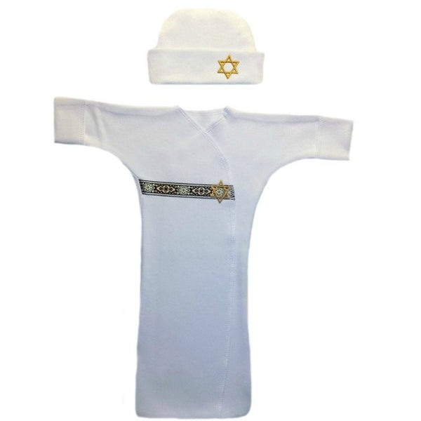 Baby Boy's Gold Star of David Bunting Gown Set