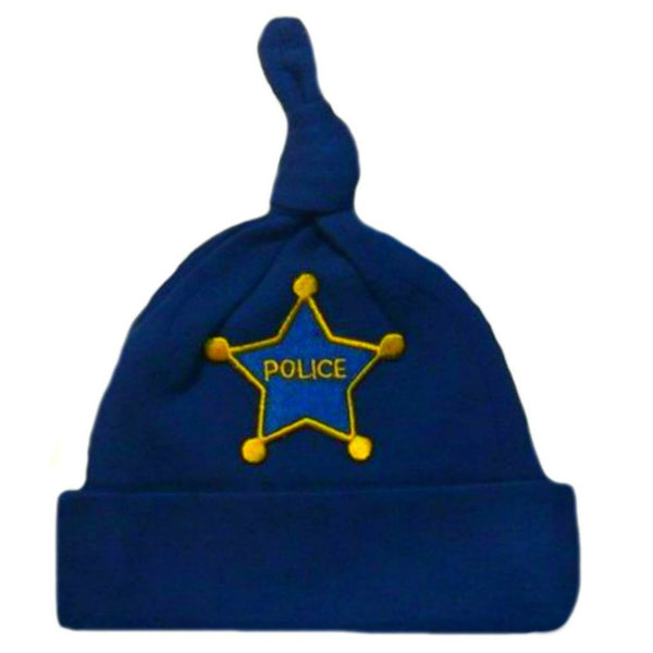 Baby Boy Preemie Newborn Police Office Hat for premature babies, NICU micro preemie and infants.