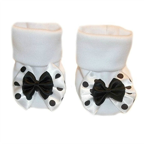 Newborn and Preemie Baby Girls' Black Polka Dot Fun Booties