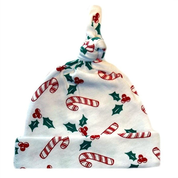 3e535a84ac0 Candy Cane and Holly Christmas Baby Hat