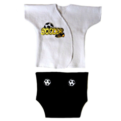 Baby Boys' Soccer Star Diaper Set Sized For Preemie and Newborn Babies